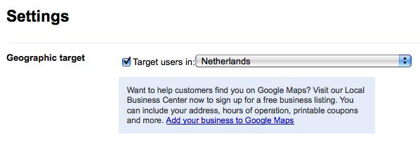 Google Webmaster Tools geosetting