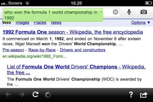 Google Search app - hakutulos