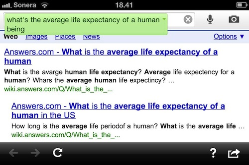 Google Search app - life expectancy