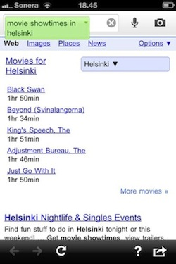 Google Search app - movie showtimes