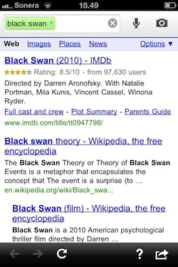 Google Search app - black swan more info